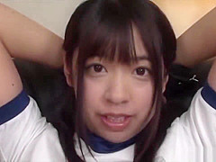 Cute Japanese schoolgirl in gym outfit bondage orgasm!